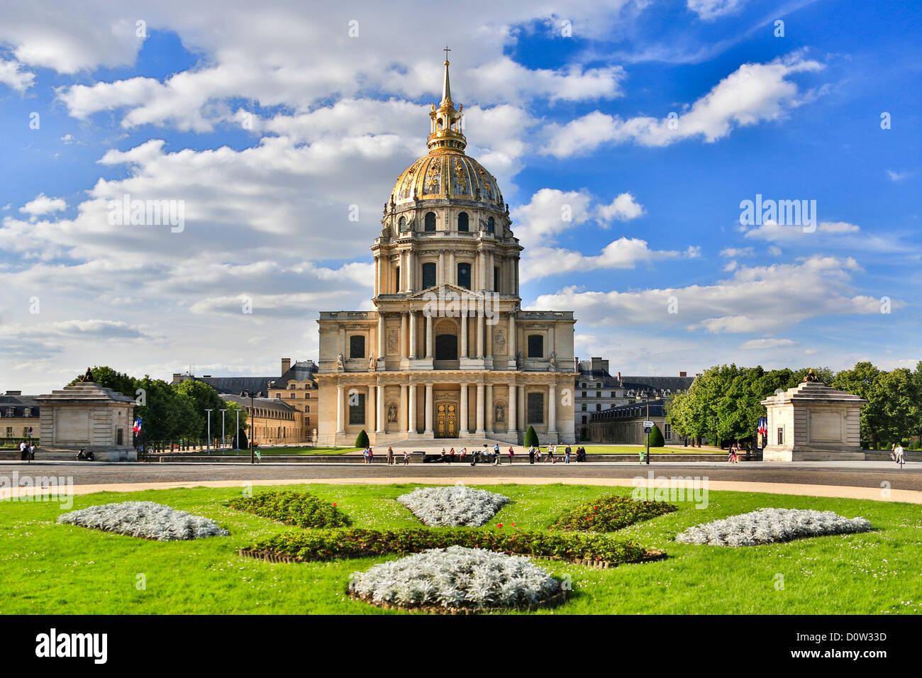 France Europe travel Paris City Les Invalides Napoleon grave architecture building dome history invalides memorial - Stock Image