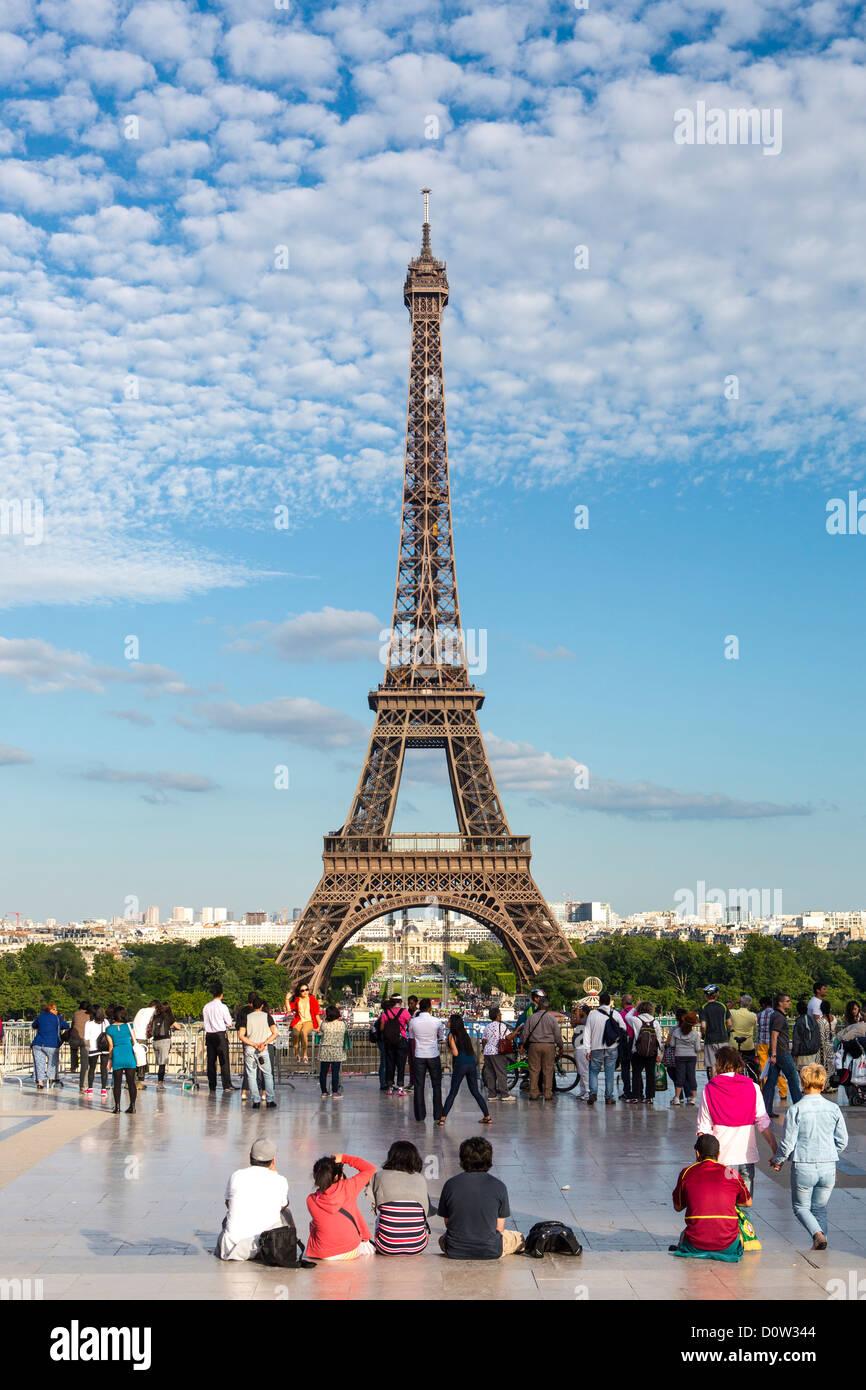 France Europe travel Paris City Eiffel Tower Trocadero architecture art Eiffel monumental skyline terrace tourists - Stock Image