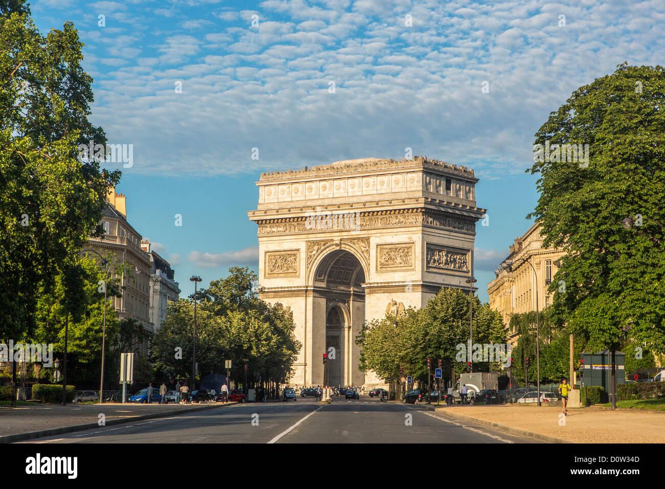 France, Europe, travel, Paris, City, Arc de Triomphe, Triumph, arch, architecture, art, avenue, big, building, buildings, - Stock Image