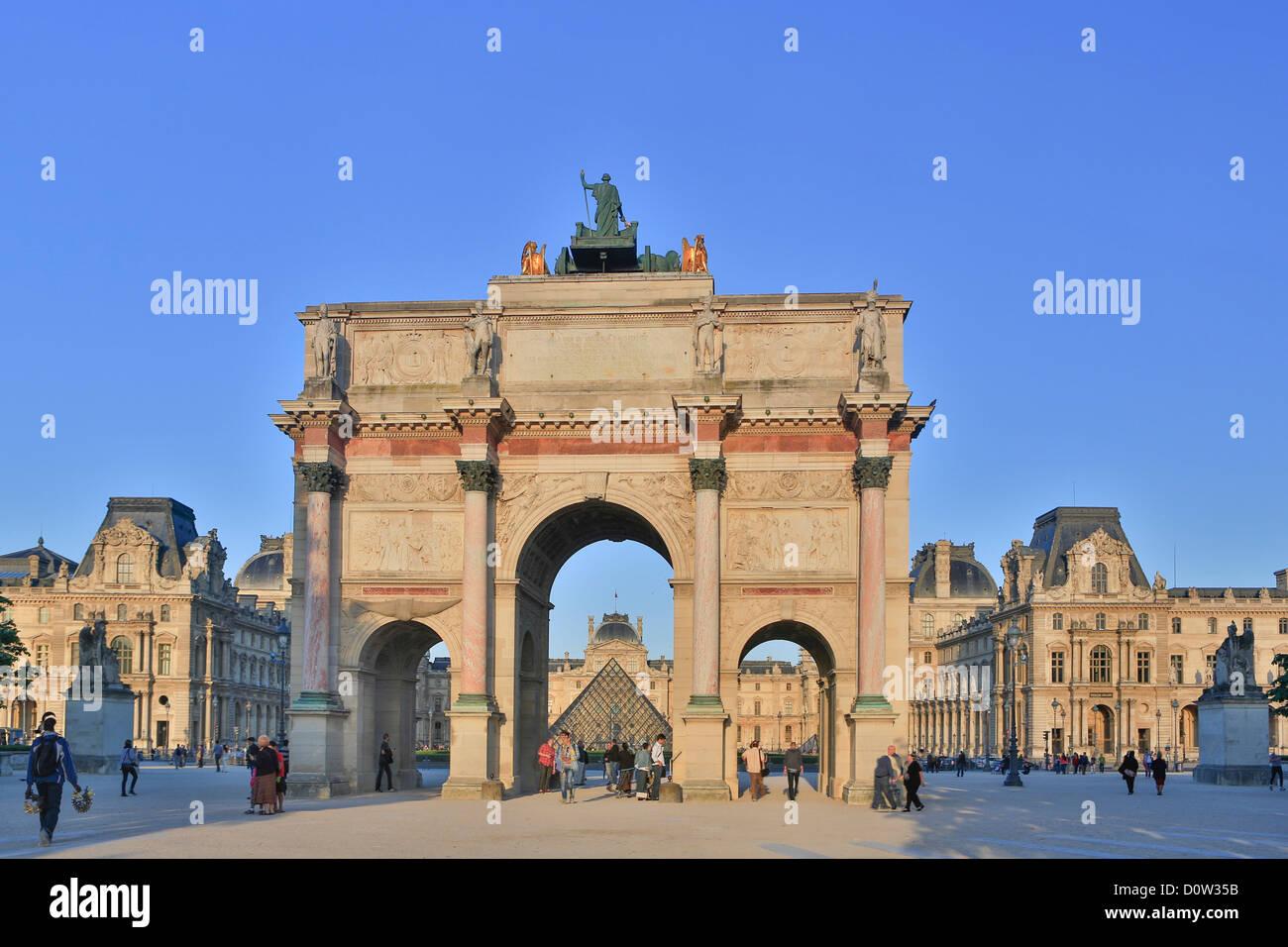 France, Europe, travel, Paris, City, Carrousel, Arc, Louvre, Museum, arch, architecture, art, artistic, gate, monument, - Stock Image