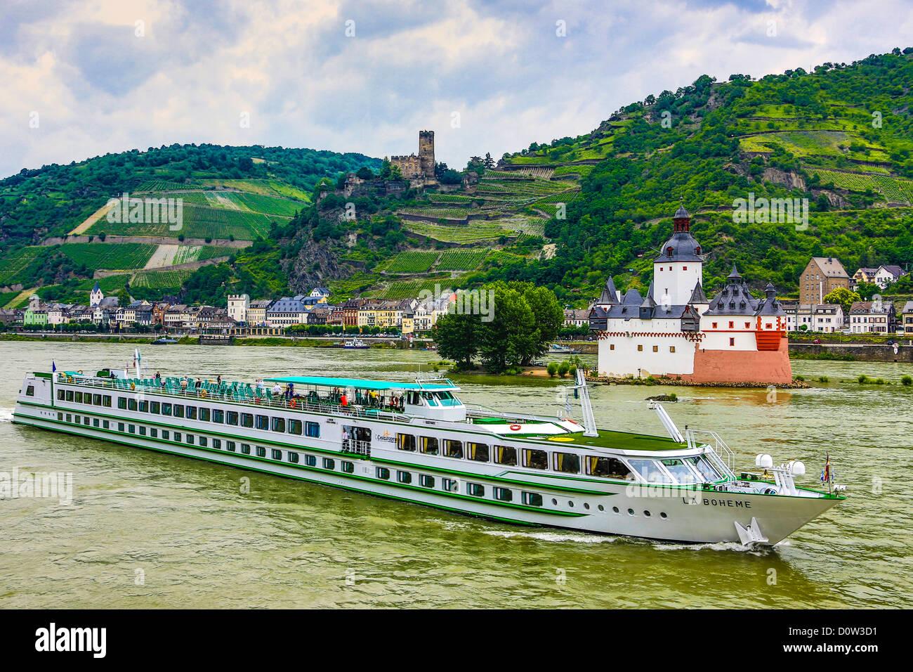 Germany, Europe, travel, Rhein, Rhine, valley, river, Pfalz bei Kaub, castle, Gutenfels, Pfalz, agriculture, bend, Stock Photo