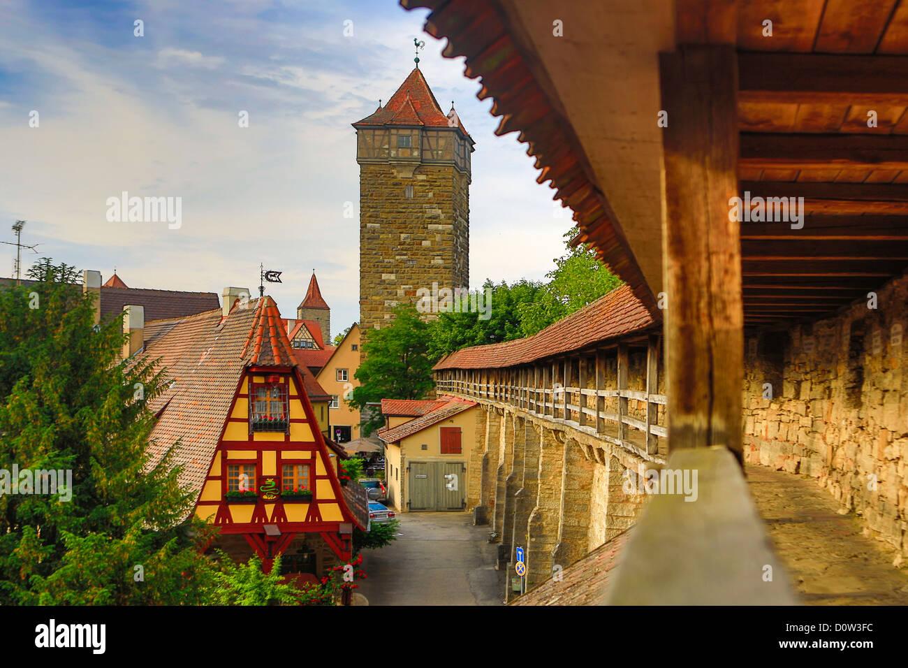 Germany, Europe, travel, Rothenburg, Romantic Road, Alte Schmiede, architecture, Bavaria, house, road, romantic, - Stock Image