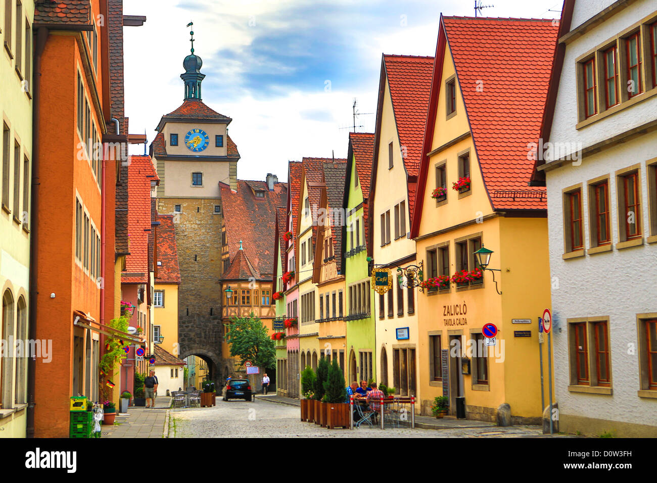 Germany, Europe, travel, Rothenburg, Romantic Road, Galgengasse, Street, architecture, Bavaria, colourful, Germany, - Stock Image