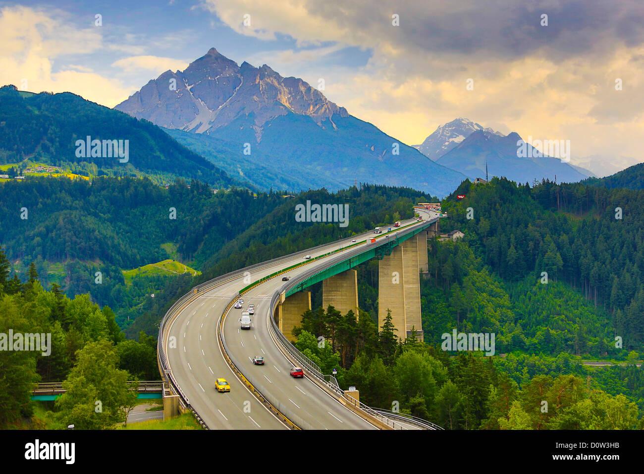 Austria, Brenner, Pass, Europabrücke, Bridge, Tirol, alps, highway, brennero, mountain, traffic, - Stock Image