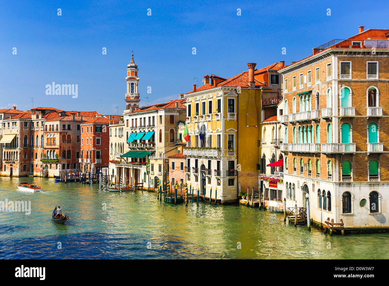 Italy, Europe, travel, Venice, buildings, Canal Grande, architecture, boats, campanile, colourful, colours, history, - Stock Image