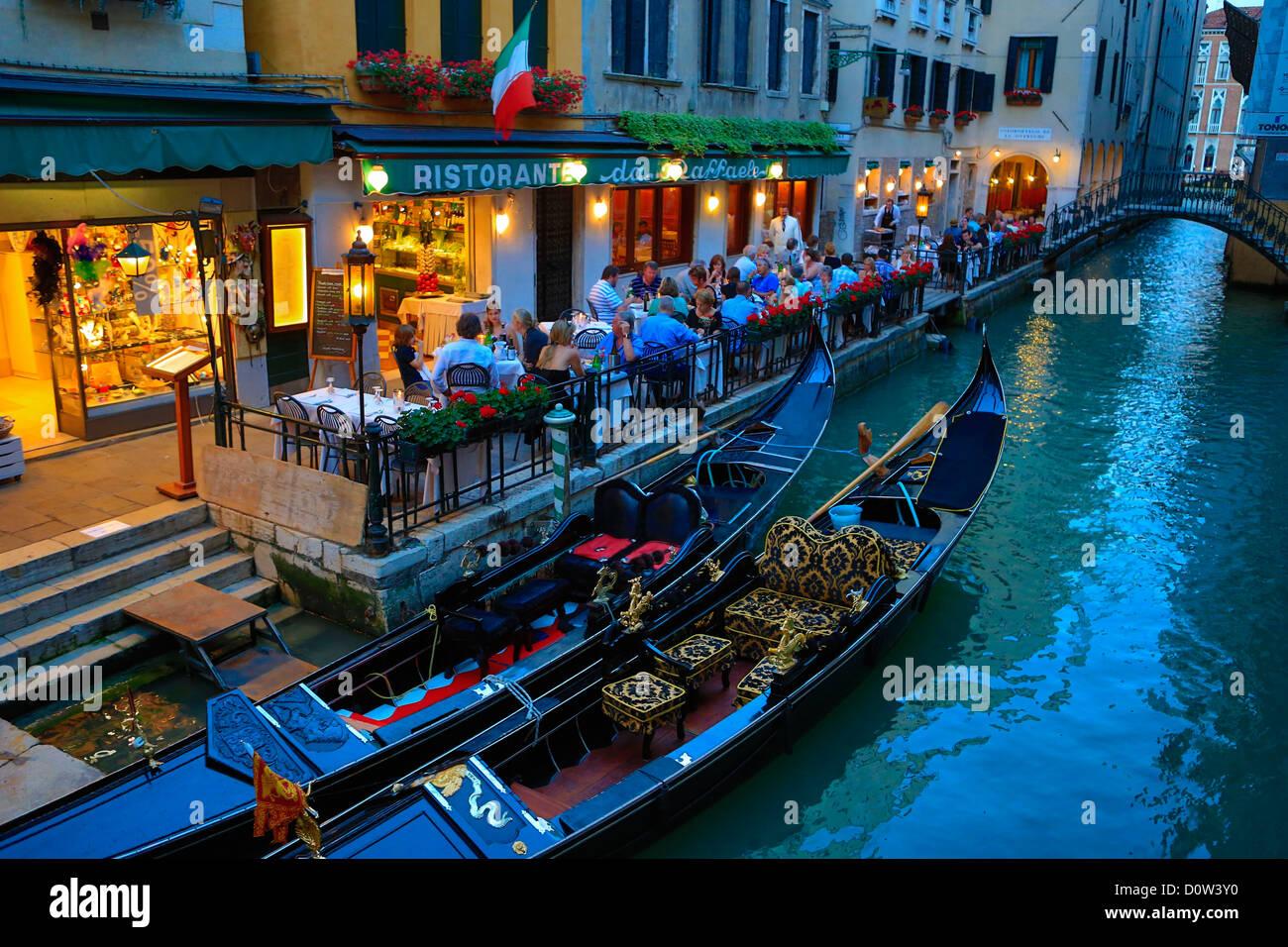 Italy, Europe, travel, Venice, Terrace, gondolas, Italy, Europe, travel, architecture, canal, evening, gondolas, - Stock Image