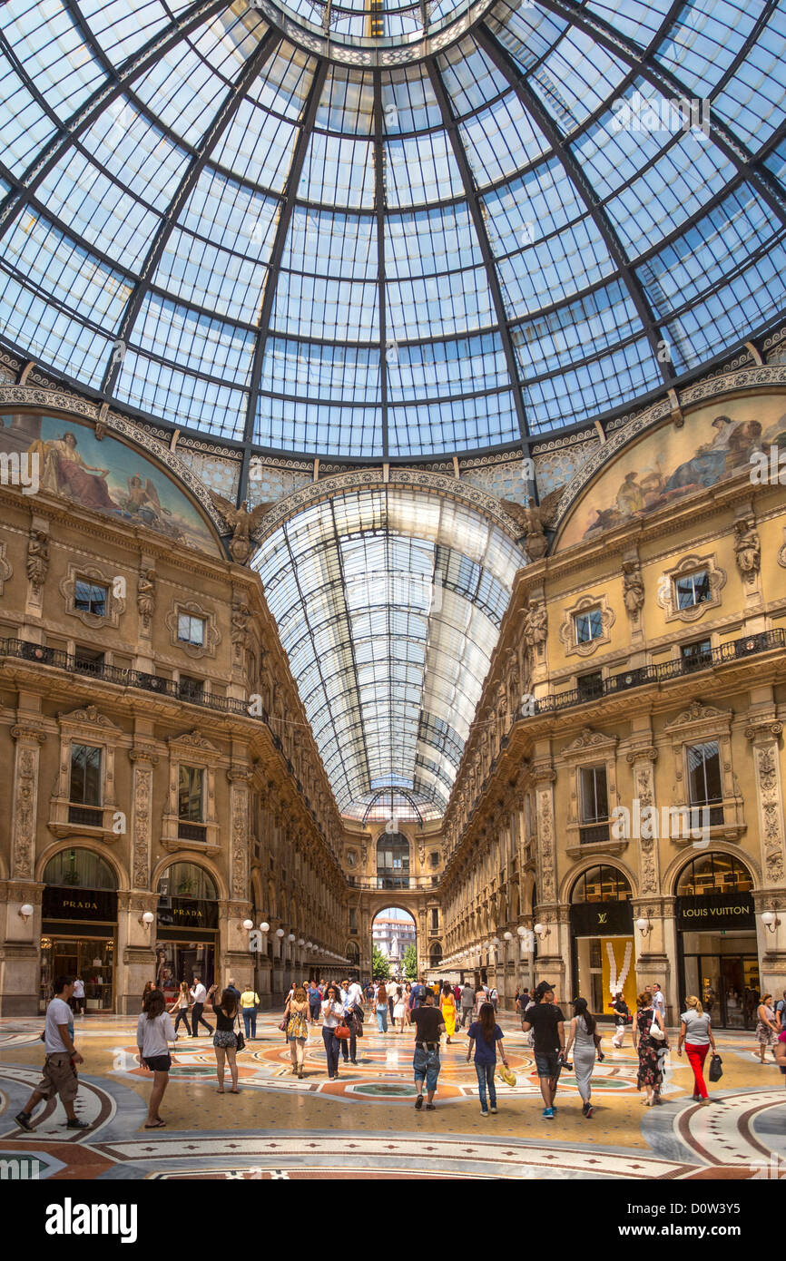 Italy Europe travel Milano Milan Vittorio Emanuele Galleria architecture center city downtown gallery glass mosaic - Stock Image