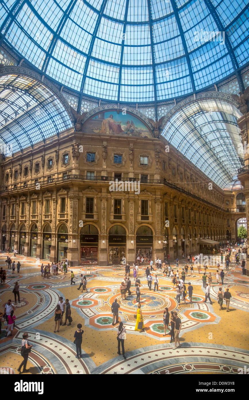 Italy Europe travel Milano Milan Vittorio Emanuele Galleria architecture center city downtown gallery glass mosaic - Stock Image