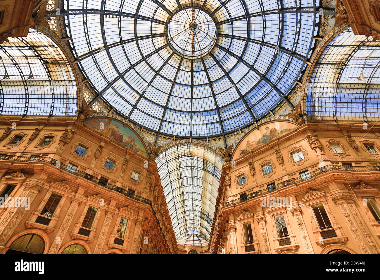 Italy Europe travel Milano Milan City Vittorio Emanuele Galleria architecture center columns downtown gallery gate - Stock Image