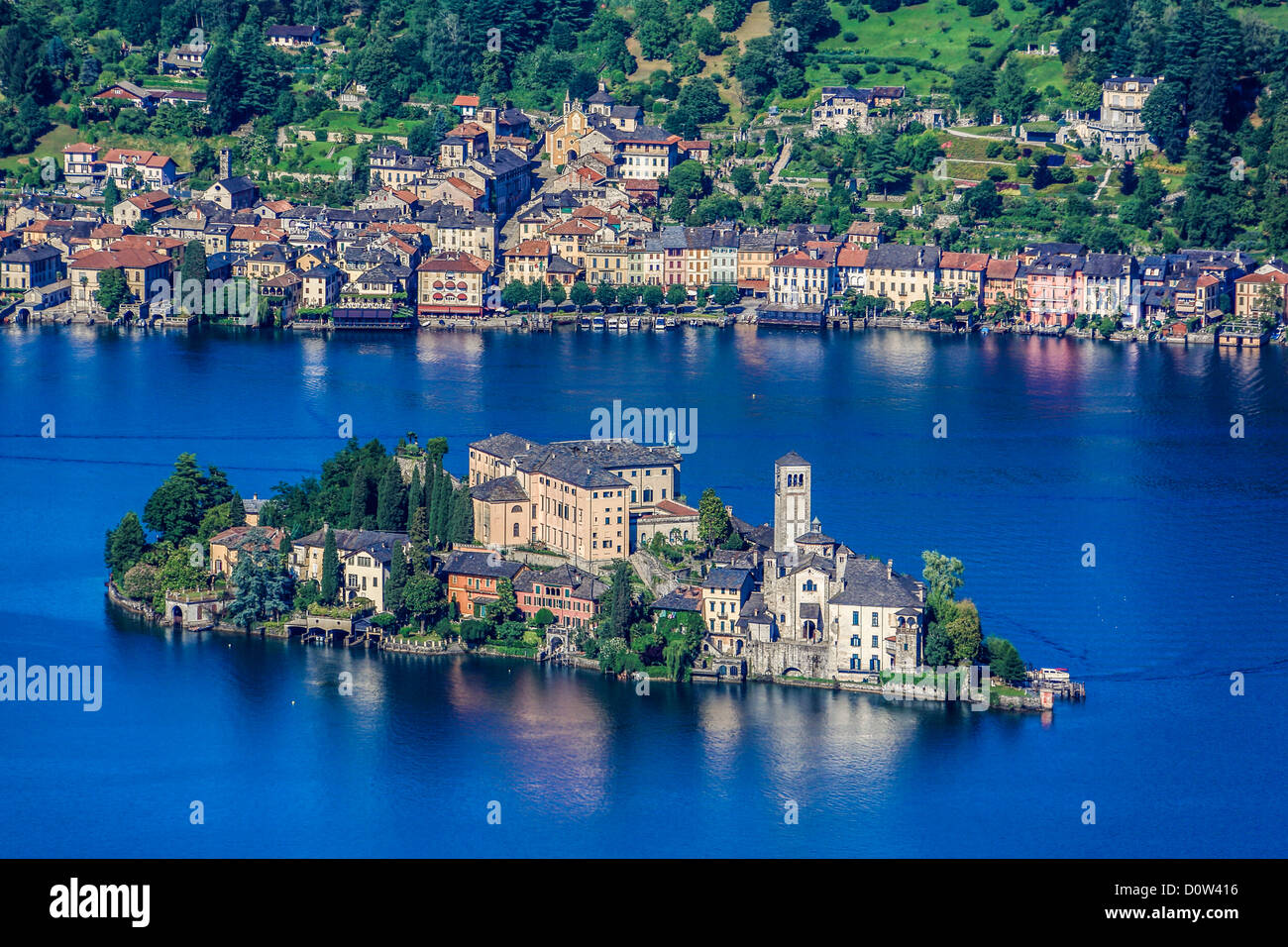 Italy, Europe, travel, Orta, Lake, San Gulio, Island, Piedmont, roofs, forest, tourism, town, - Stock Image