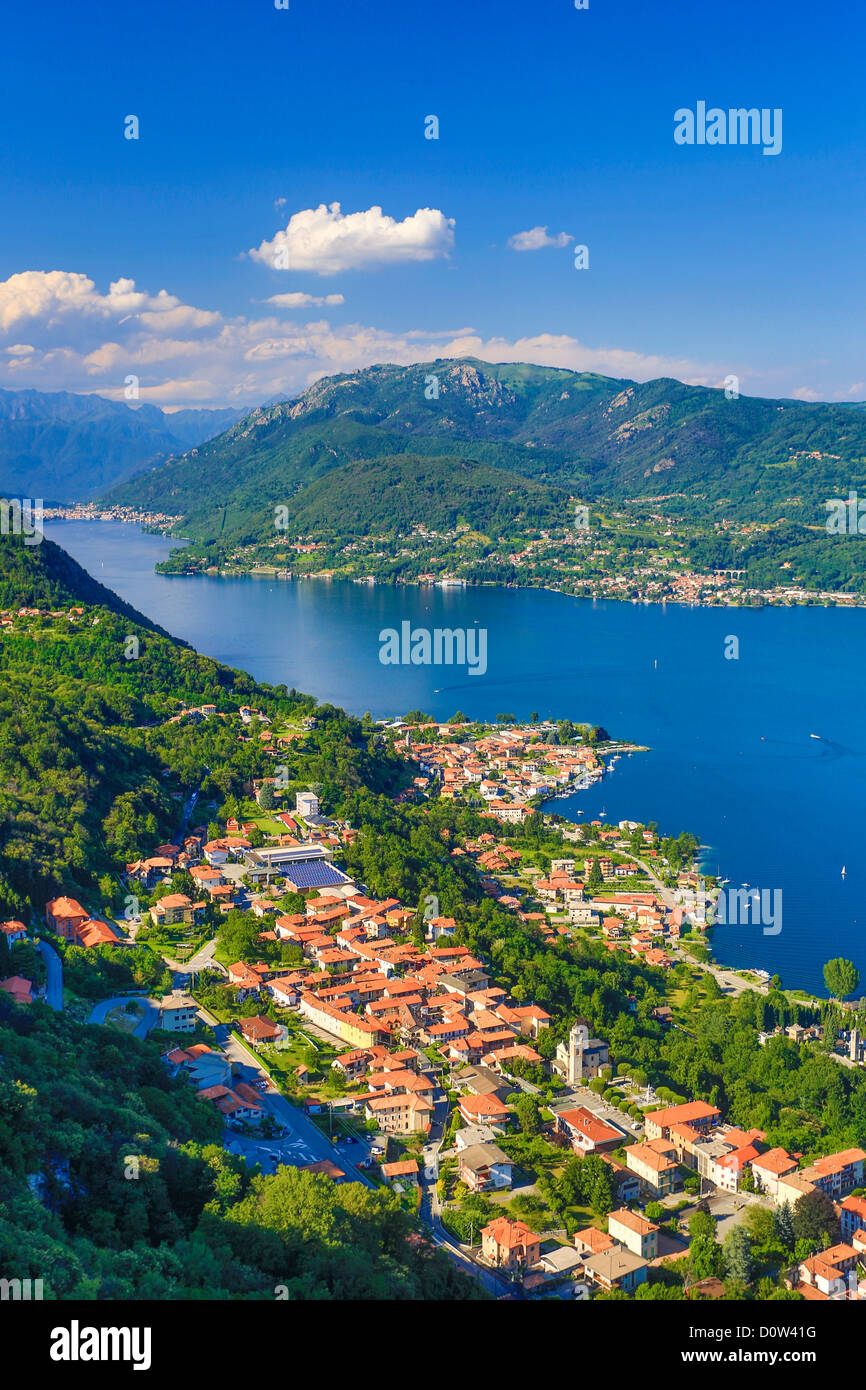 Italy, Europe, travel, Orta Lake, Pella, alps, island, landscape, mountains, orta, Piedmont, roofs, san gulio, tourism, - Stock Image