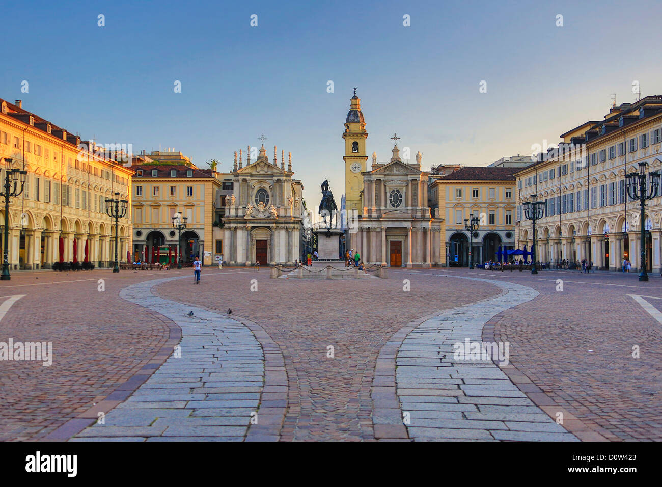 Italy, Europe, travel, Torino, Turin, City, San Carlo, Square, architecture, church, colourful, downtown, evening, - Stock Image