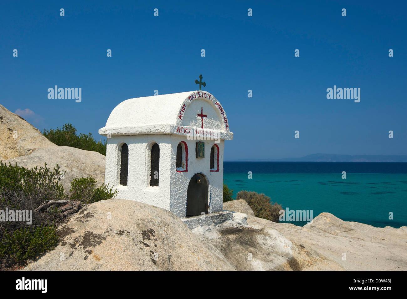 Chalkidiki, Greece, Halkidiki, Travel, vacation, Europe, European, day, chapel, chapels, coast, seashore, coasts, seashores, sea Stock Photo