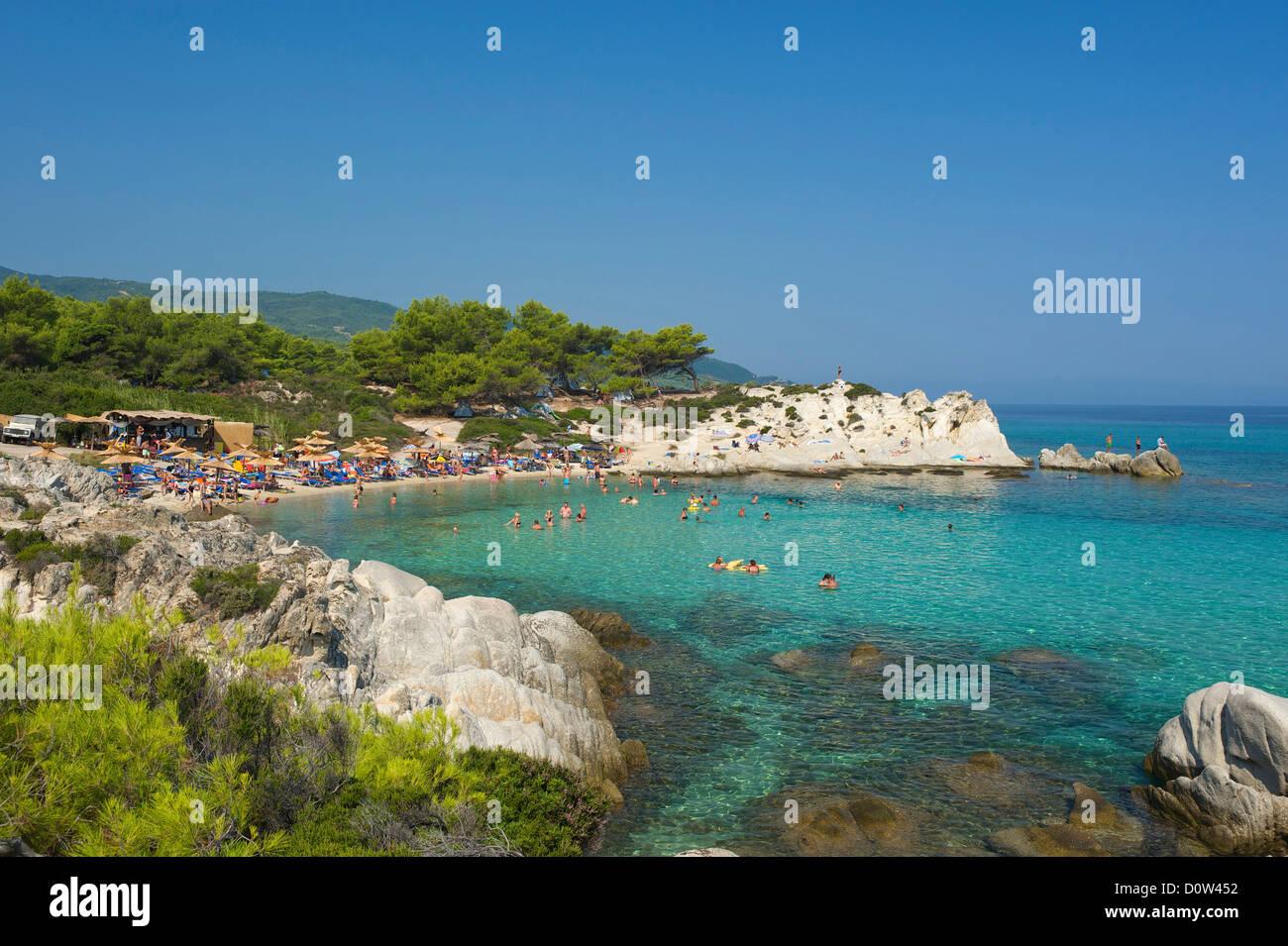 Chalkidiki, Greece, Halkidiki, Travel, vacation, Europe, European, day, Portokali Beach, Kavourotypes, Sithonia, Stock Photo