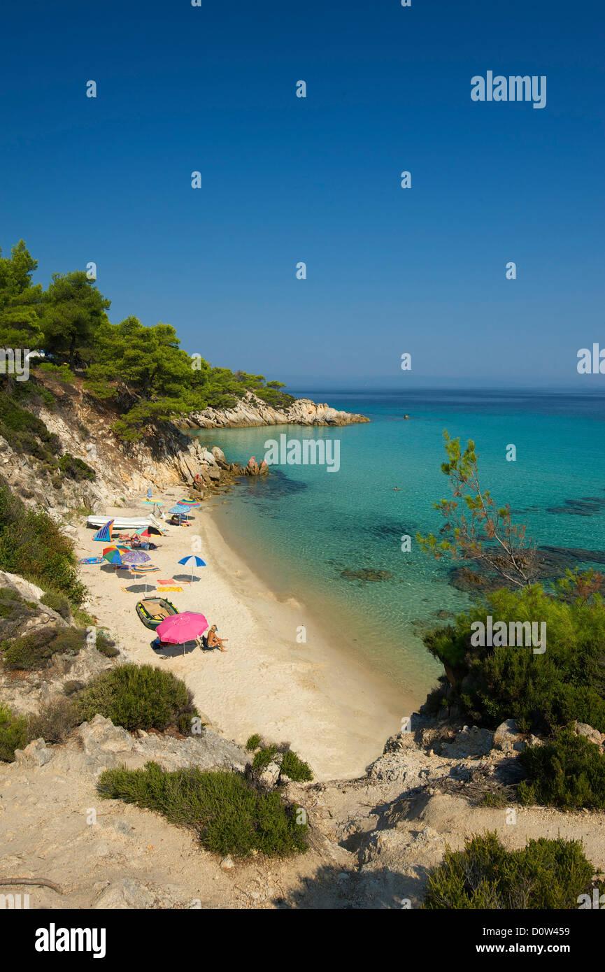 Chalkidiki, Greece, Halkidiki, Travel, vacation, Europe, European, day, Kavourotypes Beach, Sithonia, sand beach, sand beaches, Stock Photo
