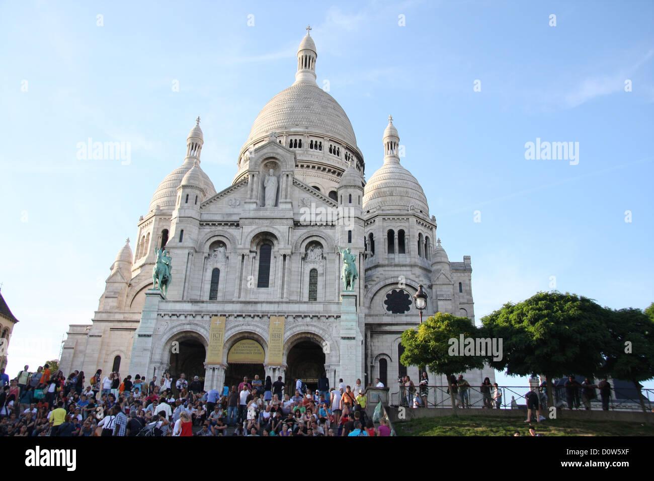 Paris, Europe, France, Sacre Coeur, church, weiss, tourists - Stock Image