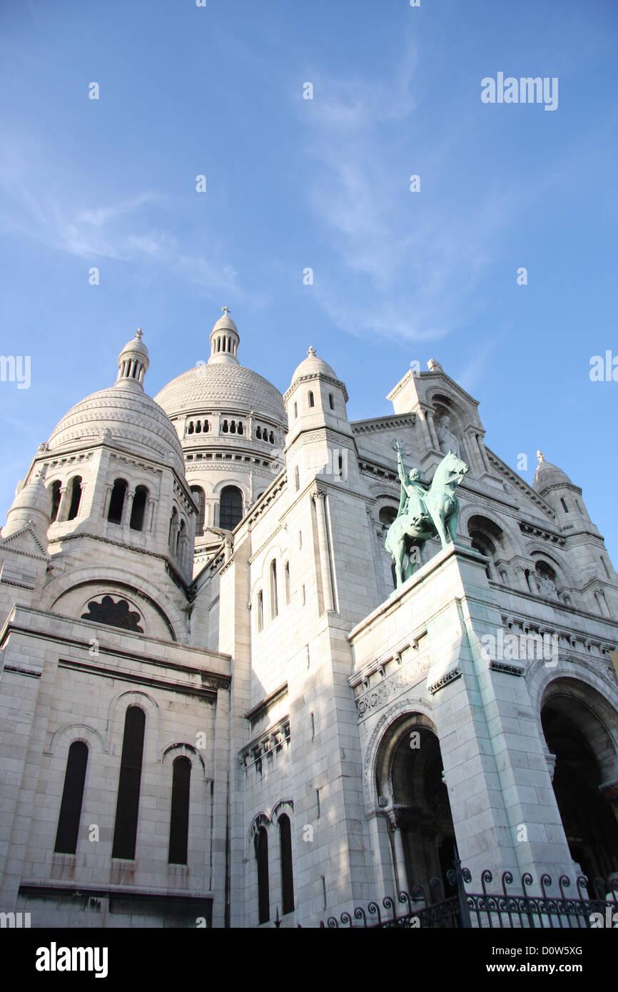 Paris, Europe, France, Sacre Coeur, church, weiss, facade - Stock Image