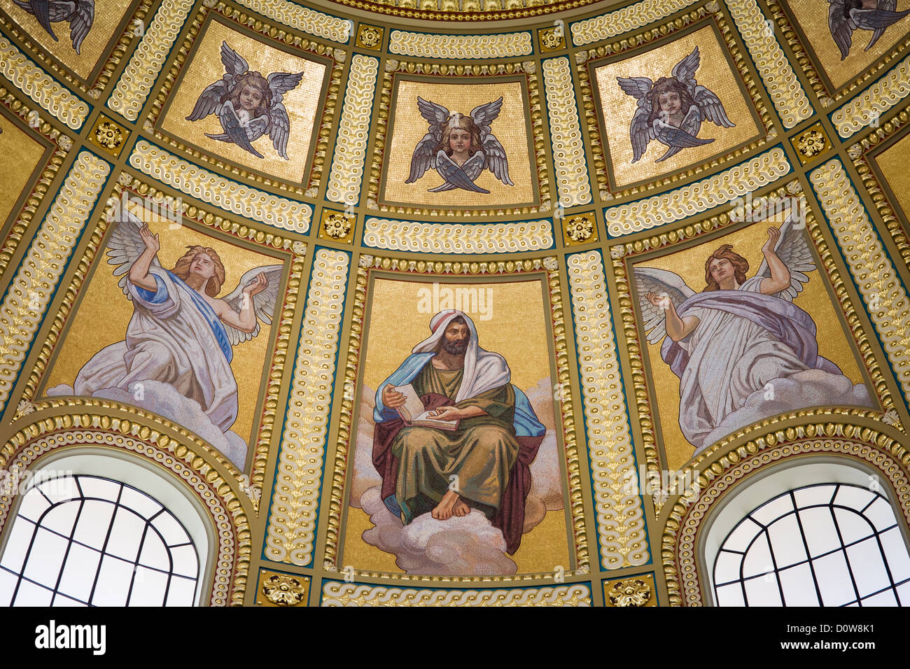 Religious mosaic on dome interior of St Stephen Basilica in Budapest, Hungary. Stock Photo