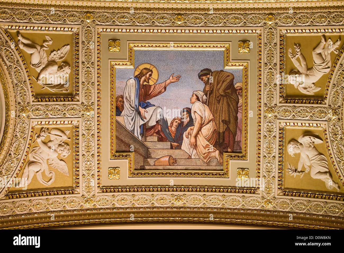 Jesus Christ mosaic in the St Stephen Basilica, Budapest, Hungary. Stock Photo