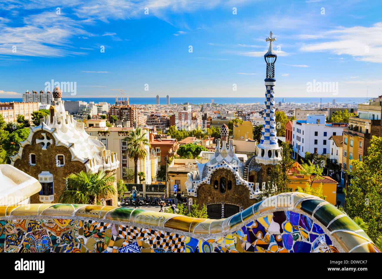 Park Guell in Barcelona, Spain on a sunny day - Stock Image
