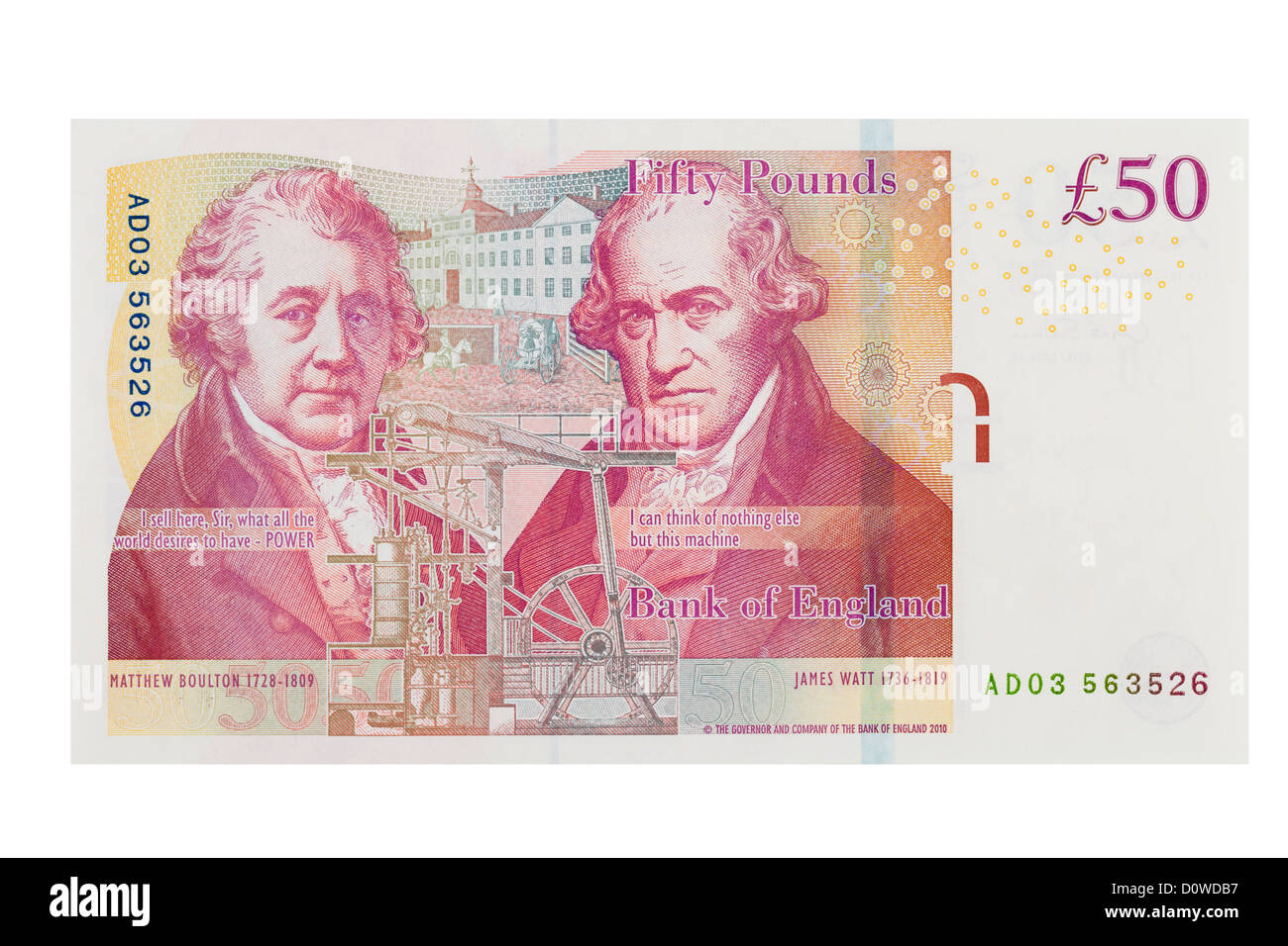 English fifty pound note on a white background - Stock Image