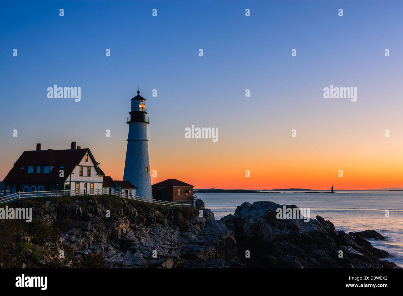 Portland Head Light is a historic lighthouse in Cape Elizabeth, Maine - Stock Image