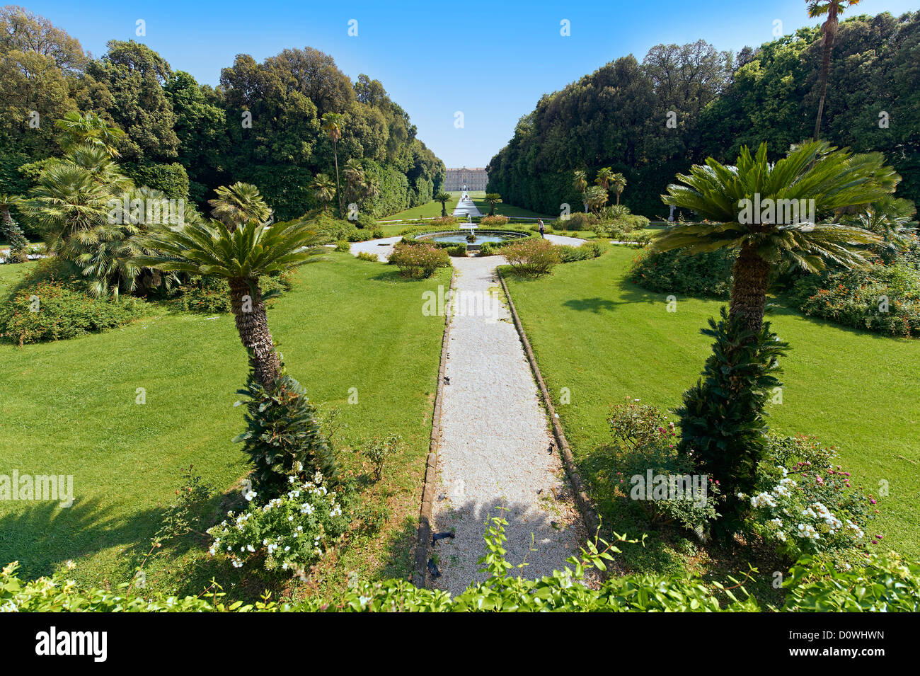 The garden of the Bourbon Kings of Naples Royal Palace of Caserta, Italy, looking towards the palace. - Stock Image