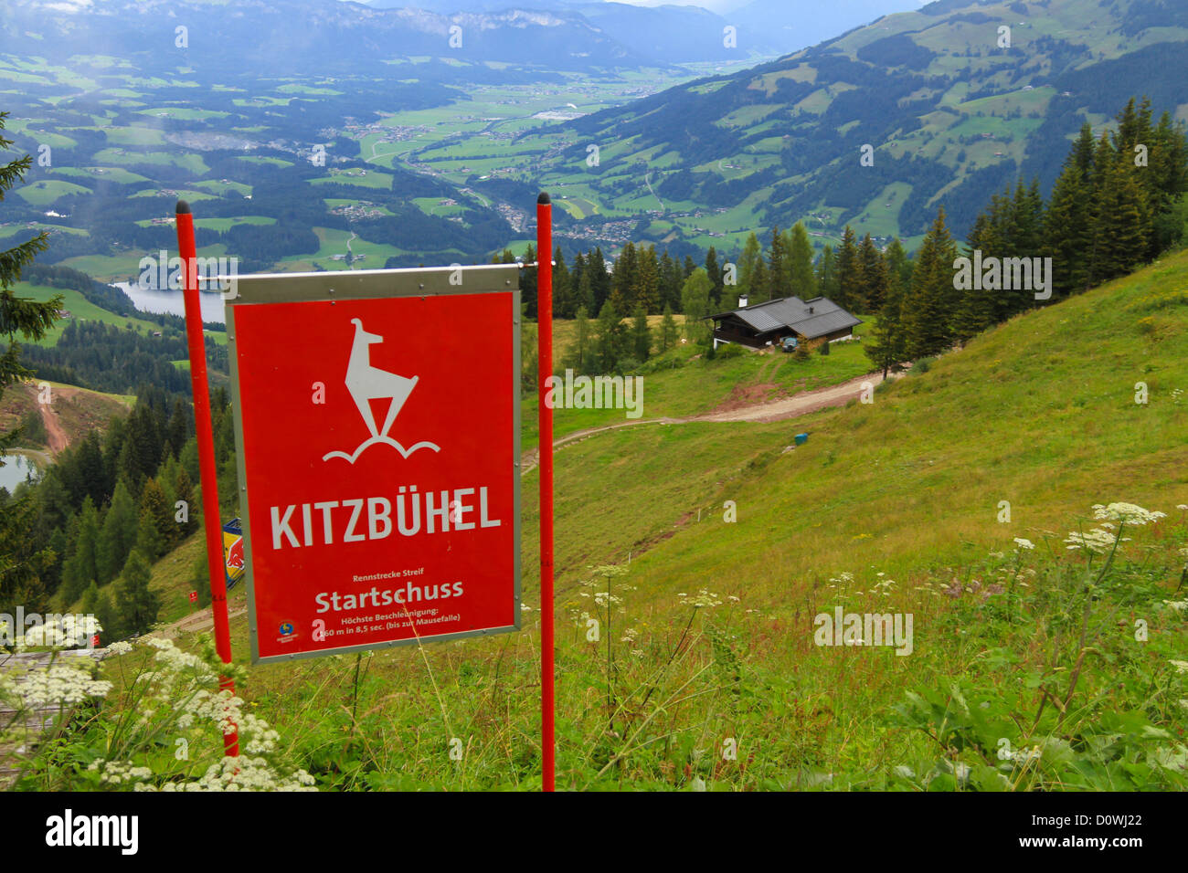 Hahnenkamm Rennen Start Point of the World Famous Kitzbuehel Ski race in the European Alps Tirol Austria - Stock Image