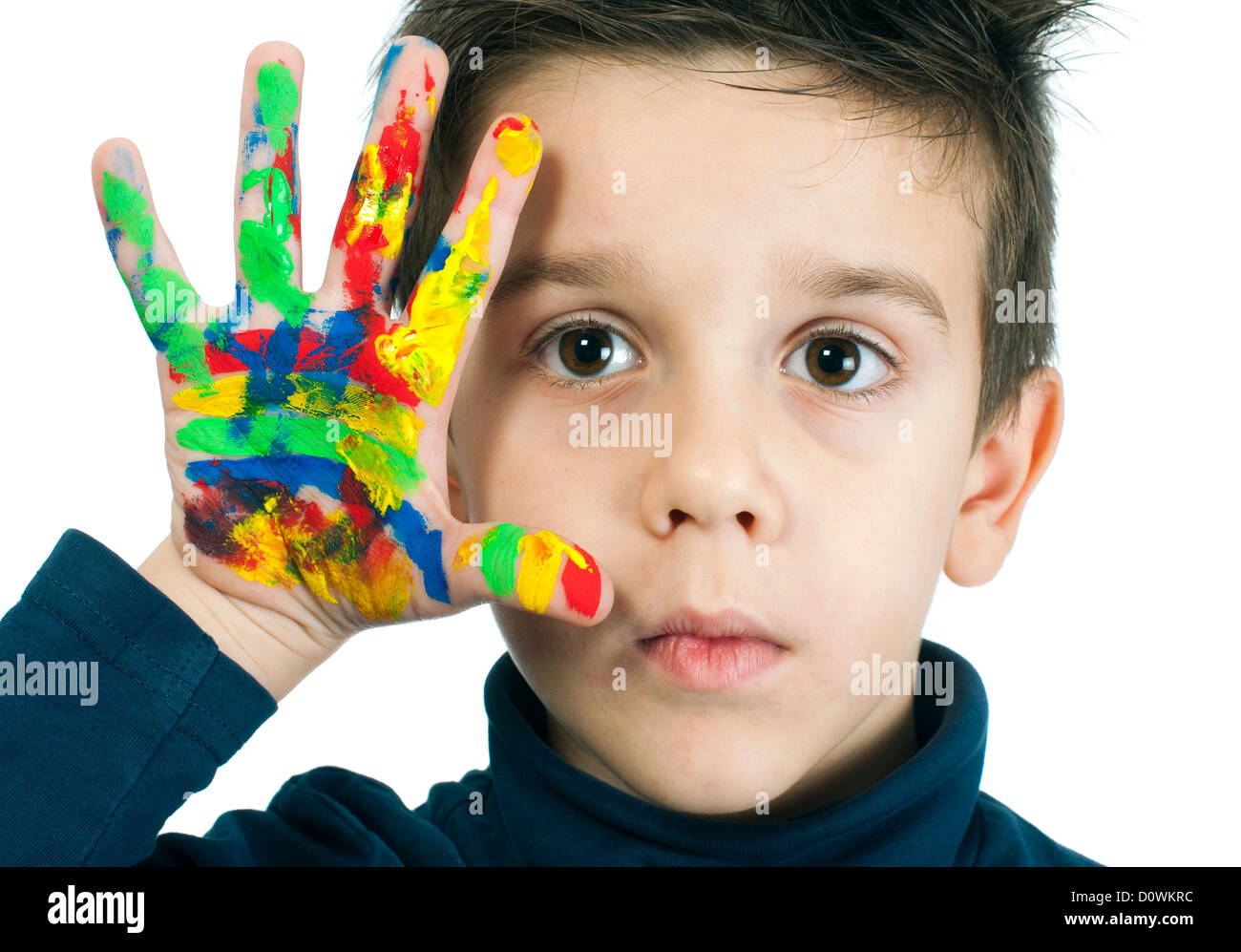 Boy hand painted with colorful paint. White islated - Stock Image