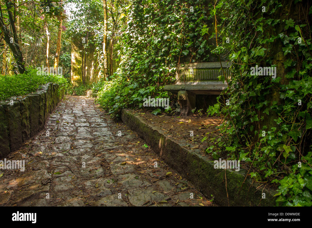 A stone path winding through a park in Bogota, Colombia Stock Photo ...