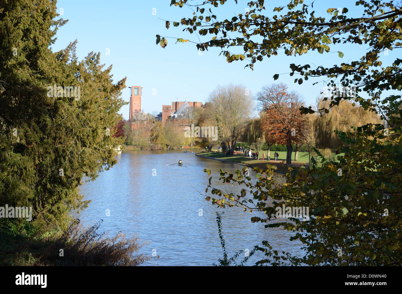 Autumn River Scene with RSC Theatre in Background - Stock Image