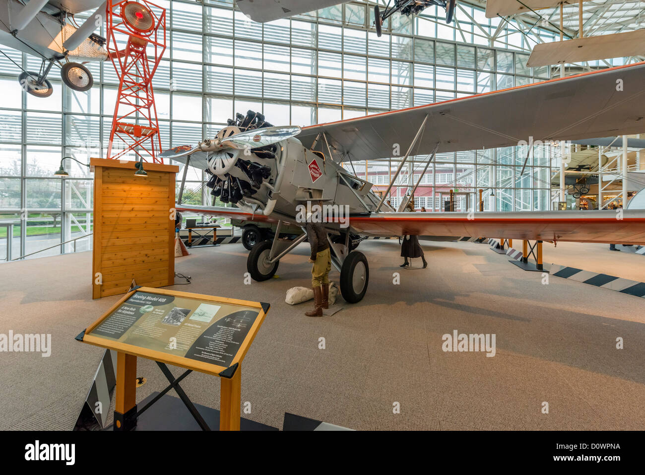 A replica 1928 Boeing Model 40B airmail plane, The Museum of Flight, Seattle, Washington, USA - Stock Image