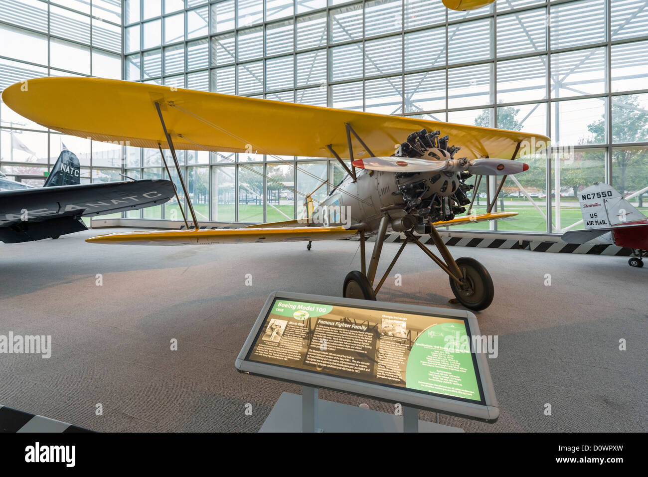 A 1928 Boeing P12/Model 100 fighter aircraft, The Great Gallery, Museum of Flight, Seattle, Washington, USA - Stock Image