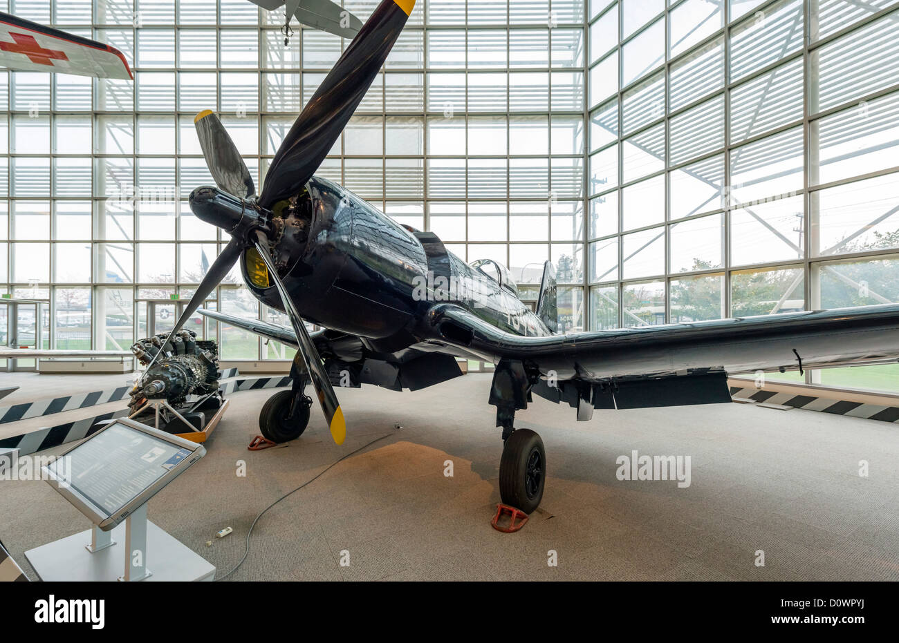 A 1944 Goodyear F2G-1 Corsair fighter aircraft (Super Corsair), The Great Gallery, Museum of Flight, Seattle, Washington, - Stock Image
