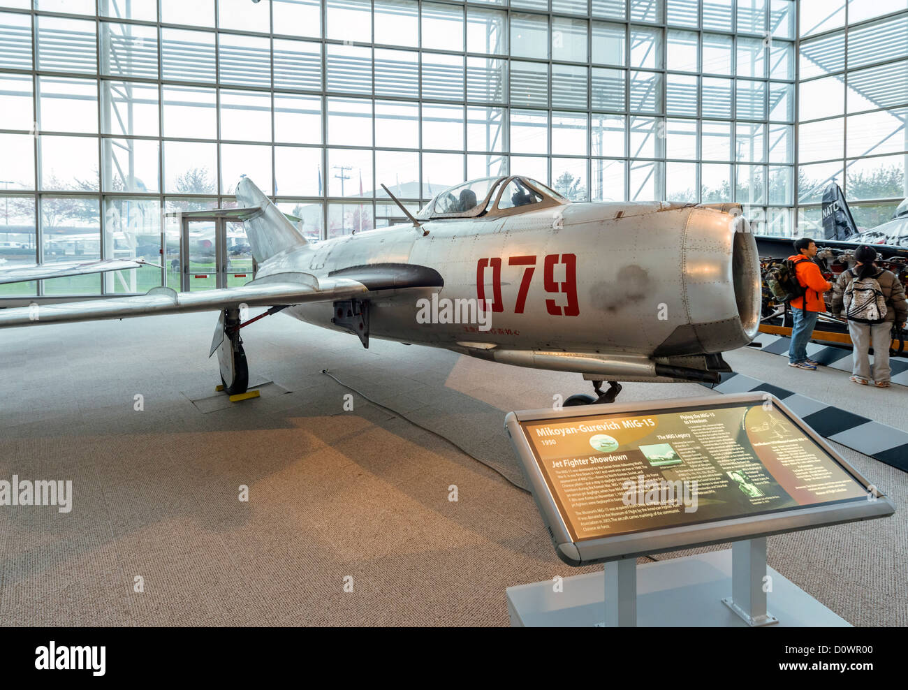 A 1950 Mikoyan-Gurevich MiG-15 fighter aircraft, The Great Gallery, Museum of Flight, Seattle, Washington, USA - Stock Image