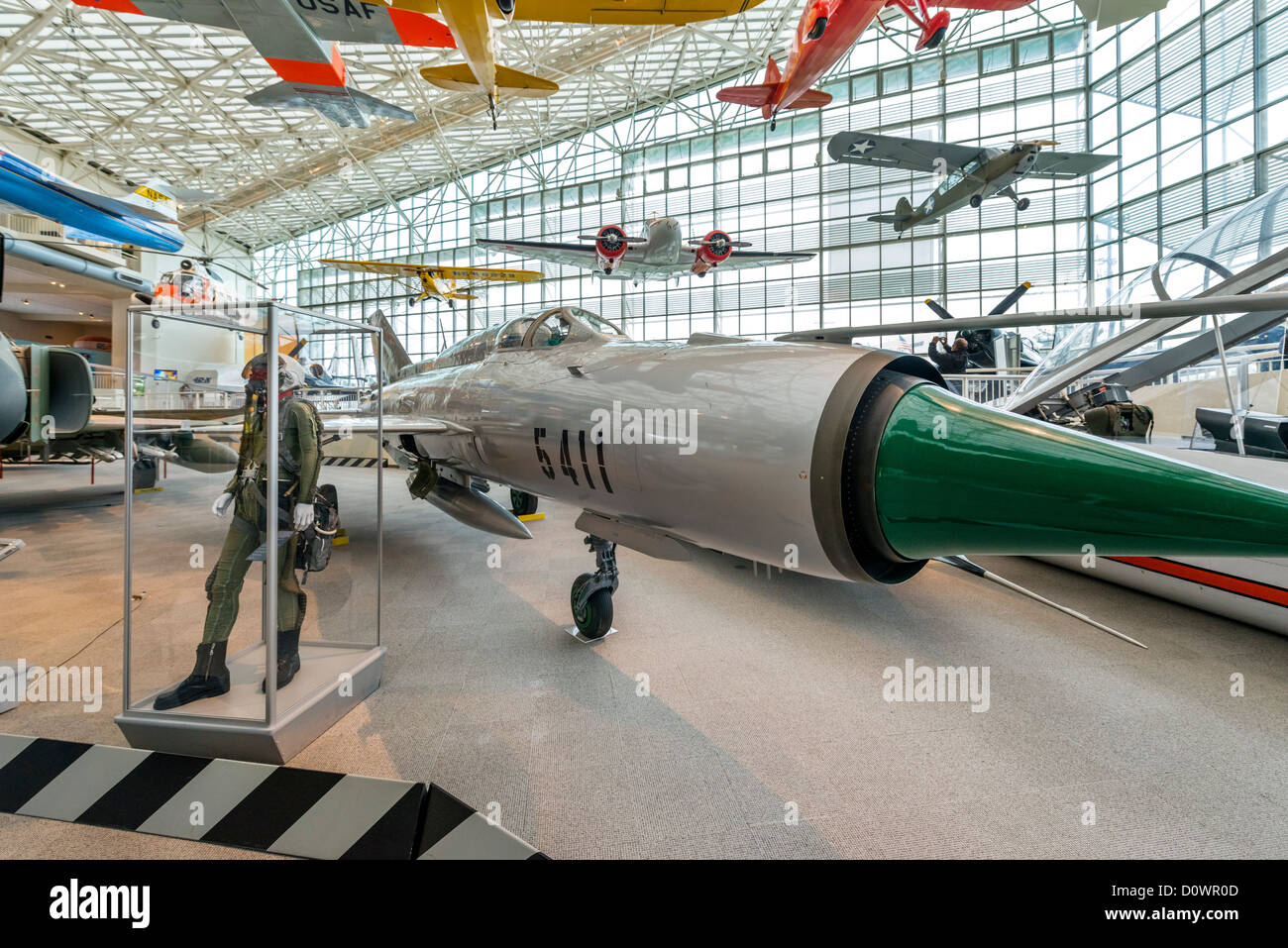 A 1967 Mikoyan-Gurevich MiG-21 PFM fighter aircraft, The Great Gallery, Museum of Flight, Seattle, Washington, USA - Stock Image