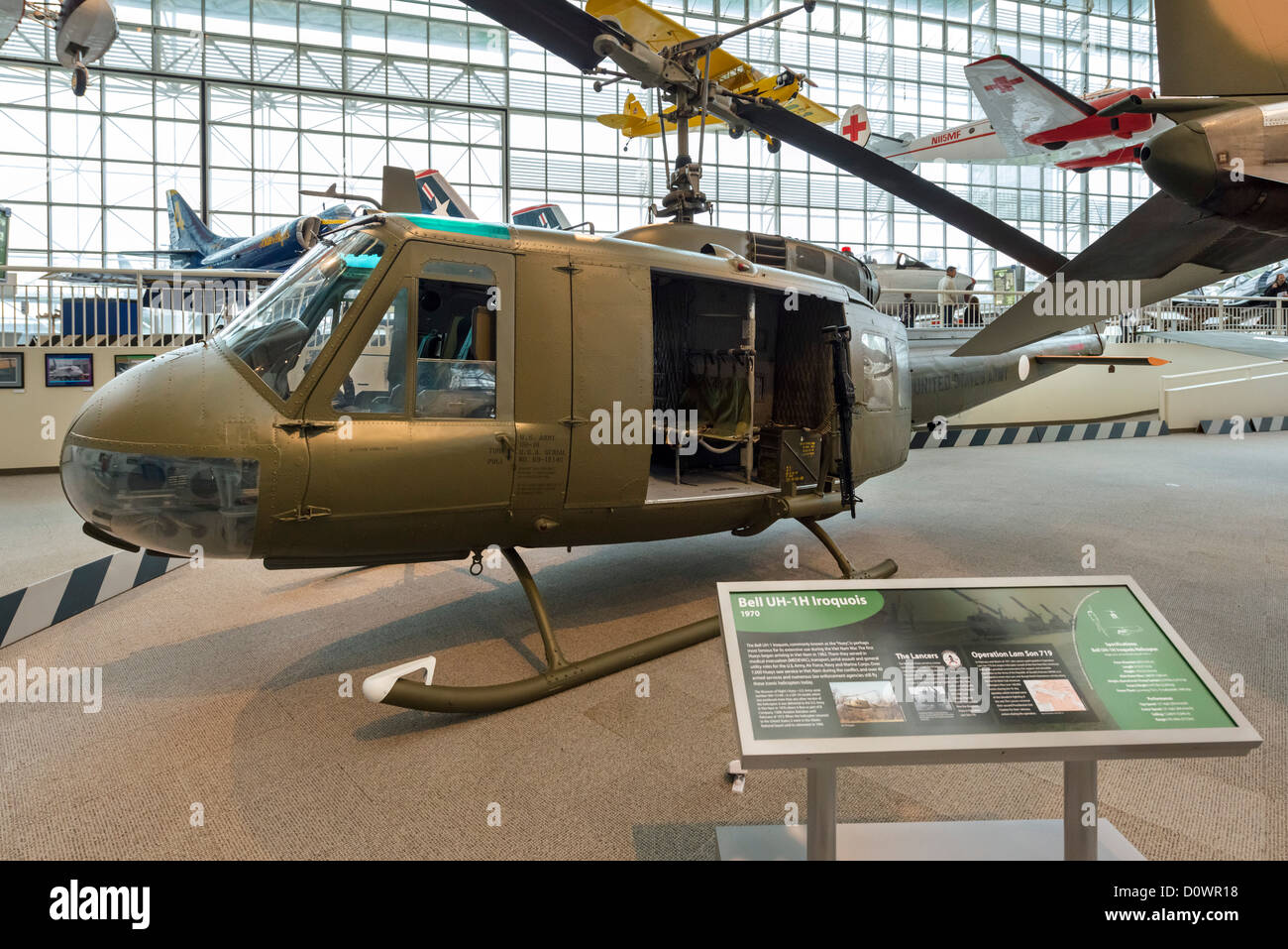 A 1970 Bell UH1-1H (Huey) helicopter, The Great Gallery, Museum of Flight, Seattle, Washington, USA - Stock Image