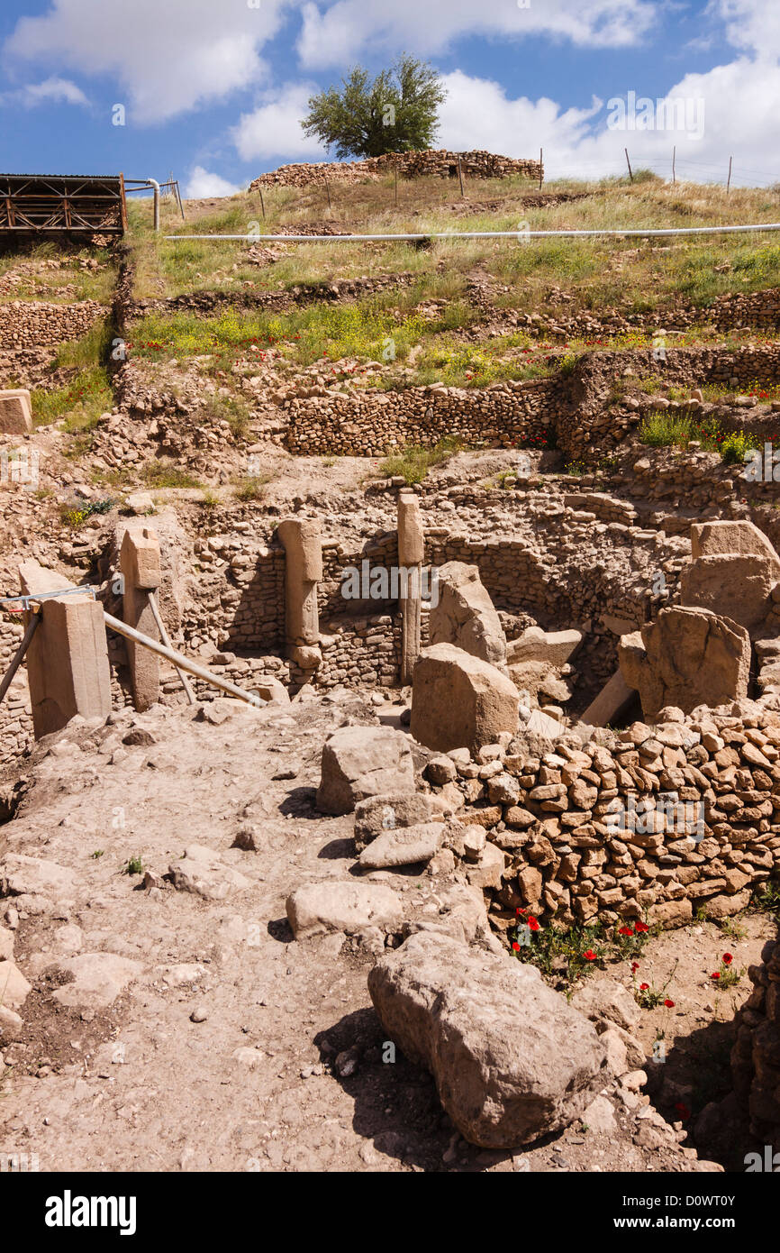 Archaelogical site of Gobekli Tepe, the oldest known human-made religious structure. Sanliurfa, Southeast Turkey - Stock Image