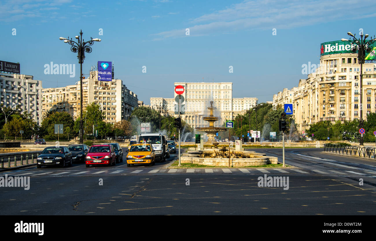 BUCHAREST, ROMANIA - September 29, 2012: View of Bulevardul Unirii, (Unification Boulevard) close the sqaure of Stock Photo