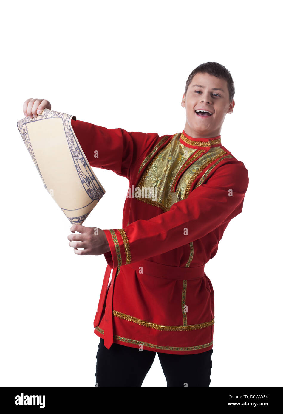 Dancer in russian costume with paper - Stock Image