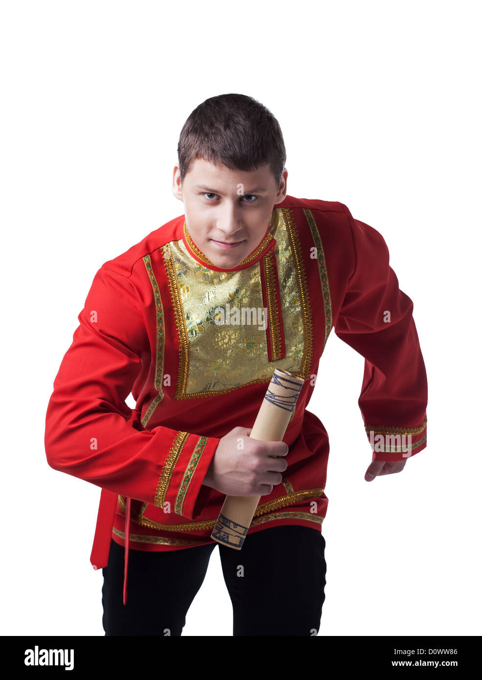 Dancer in russian costume with message - Stock Image