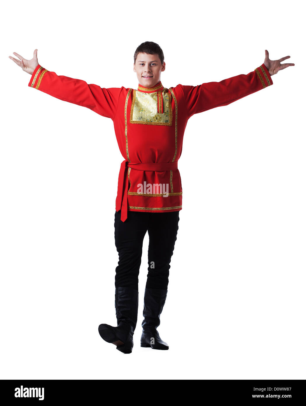 Happy man posing in russian oriental dance costume - Stock Image