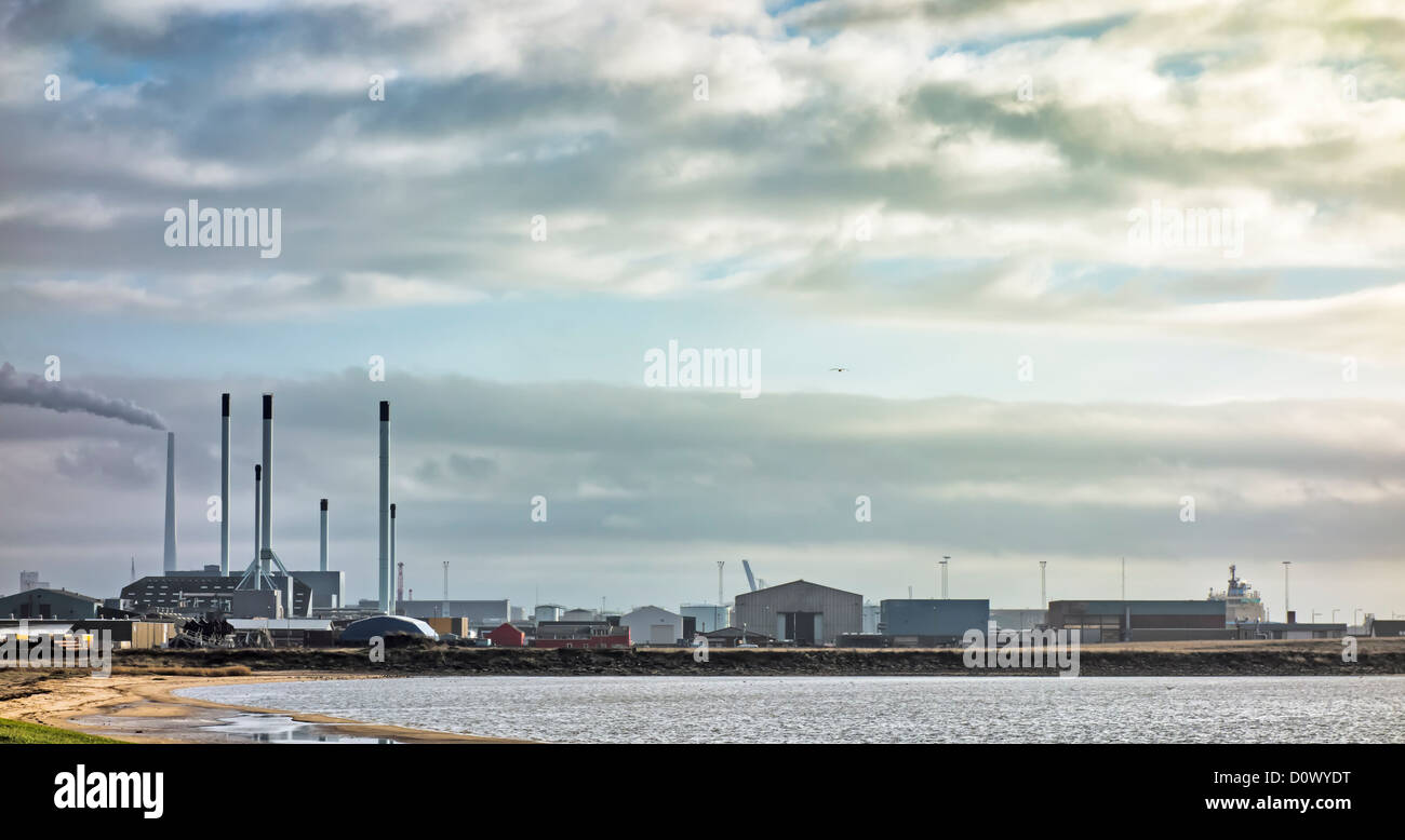 Esbjerg harbour and factories for fish oil - Stock Image