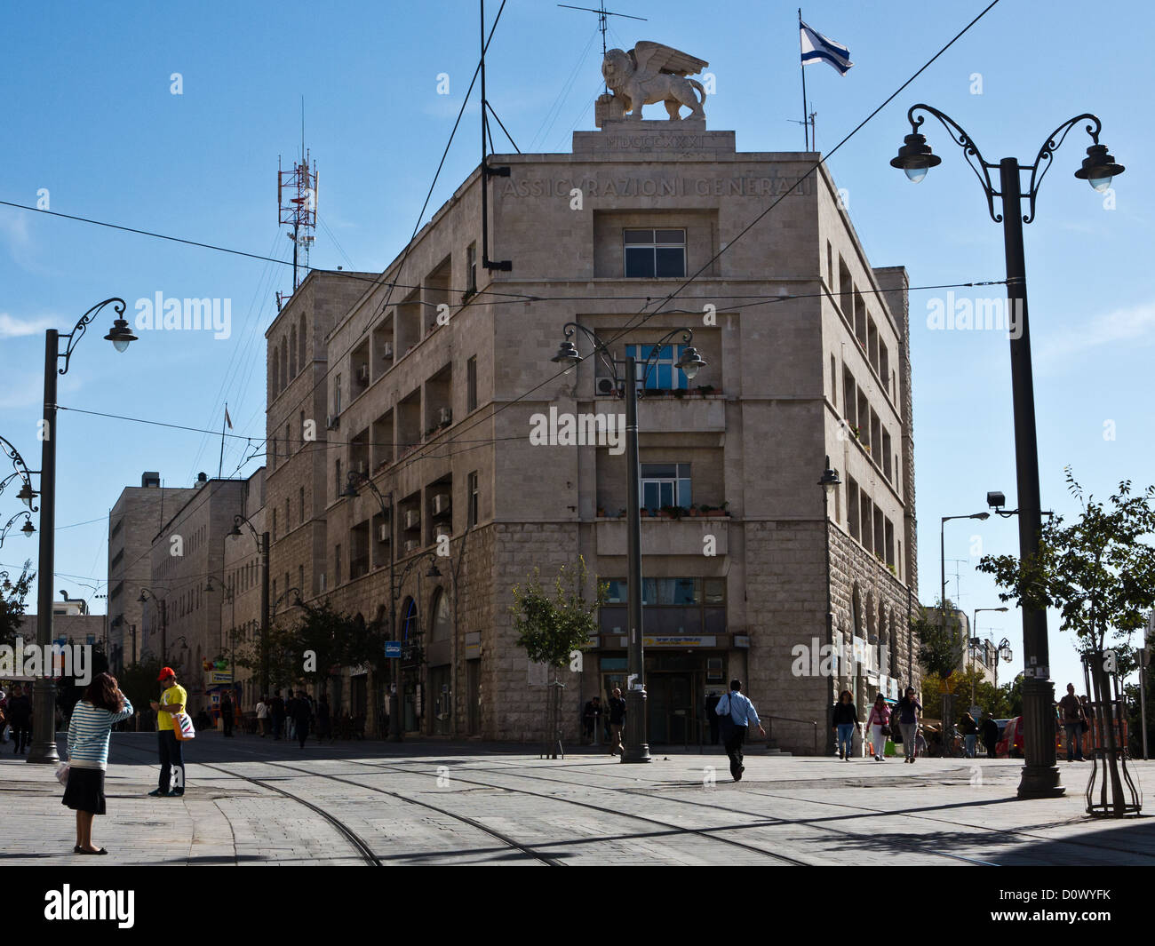 The Generali Building, located at the intersection of Jaffa and Shlomzion Hamalka in downtown Jerusalem. - Stock Image