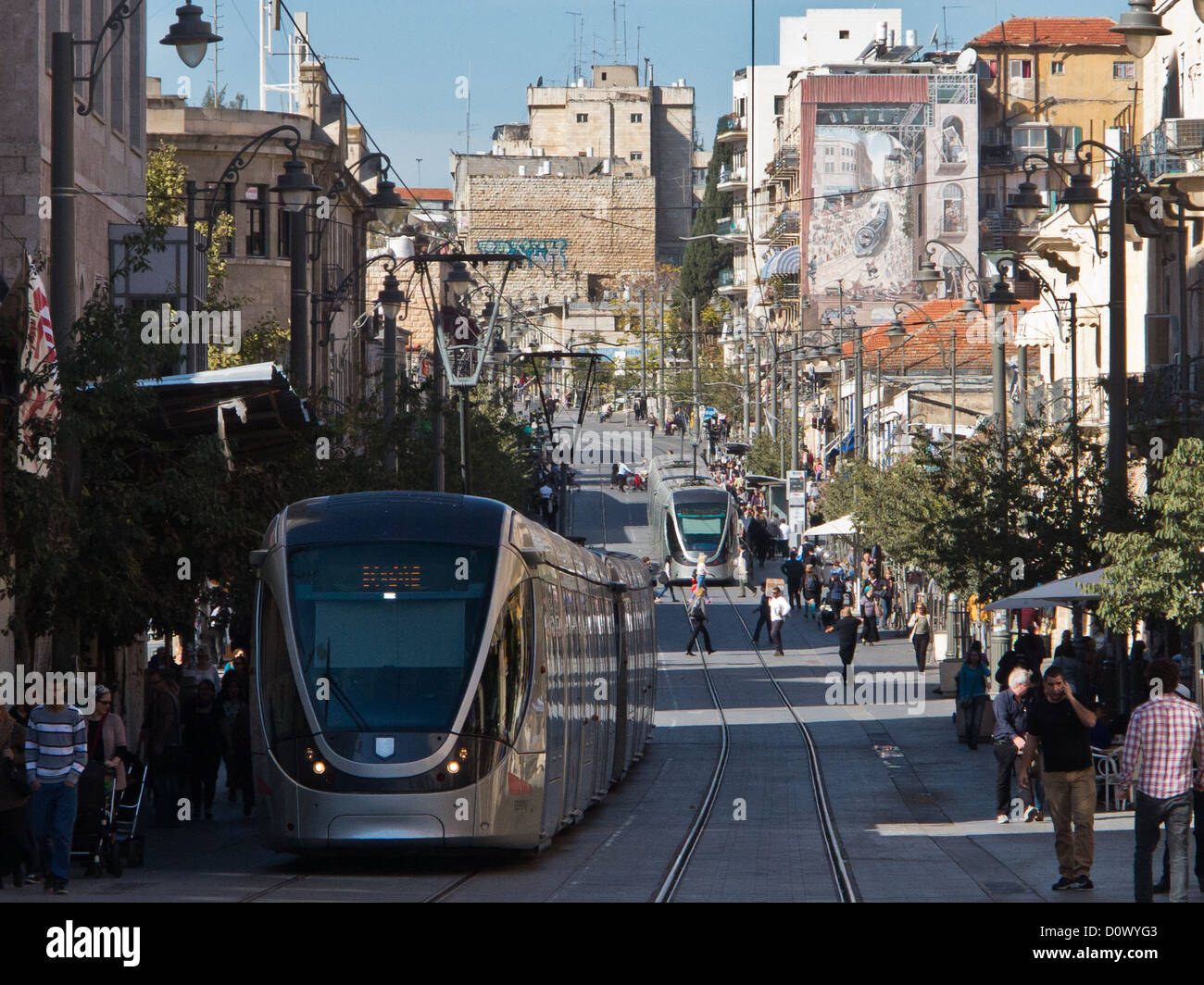 Jaffa Road in downtown Jerusalem serves as a pedestrian walkway and the route of a tram. - Stock Image