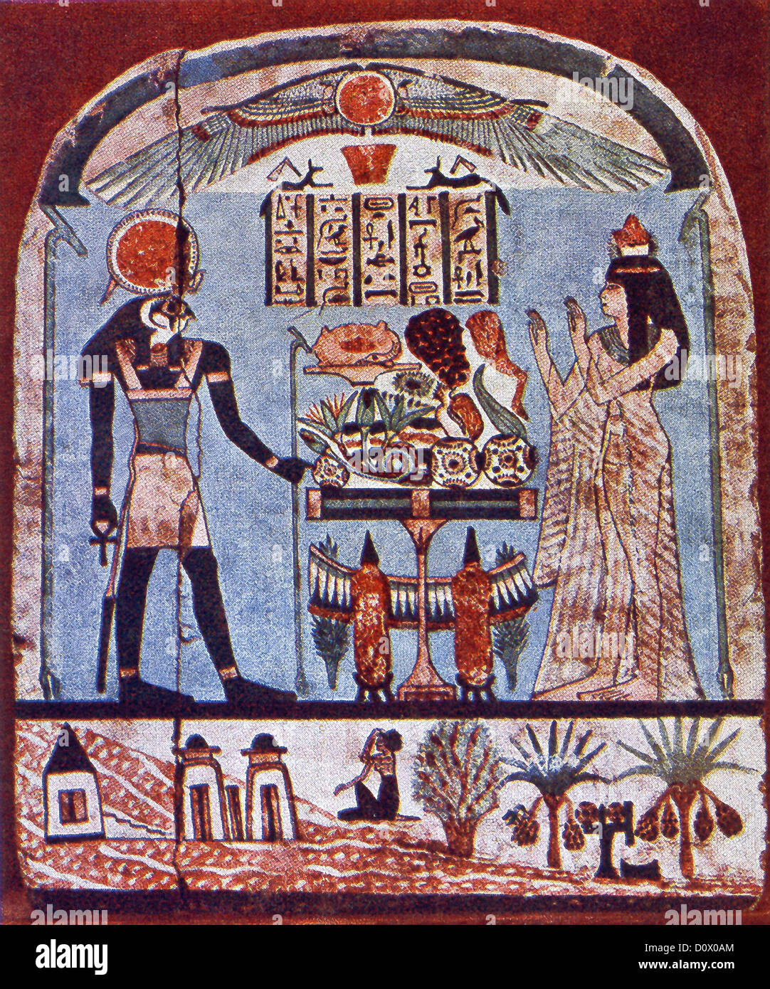 This funerary landscape painted on the stele of Djedamuniu(es)ankh from her tomb in Western Thebes dates to the - Stock Image