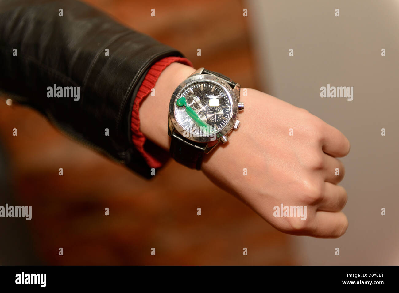 watch spoiled spot luxury paint hand - Stock Image
