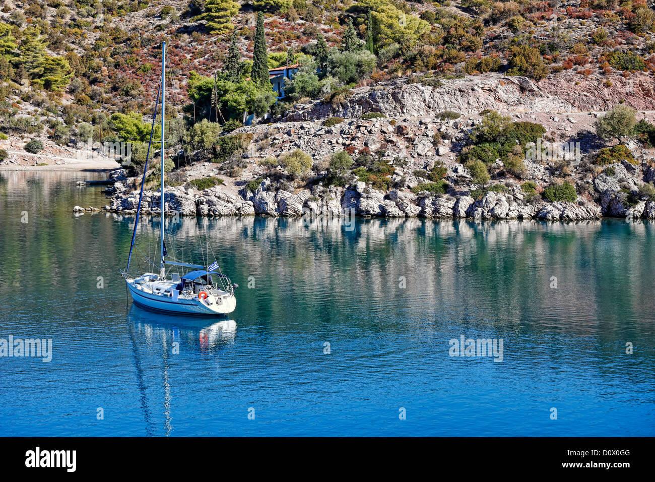 A yacht in Poros island, Greece - Stock Image