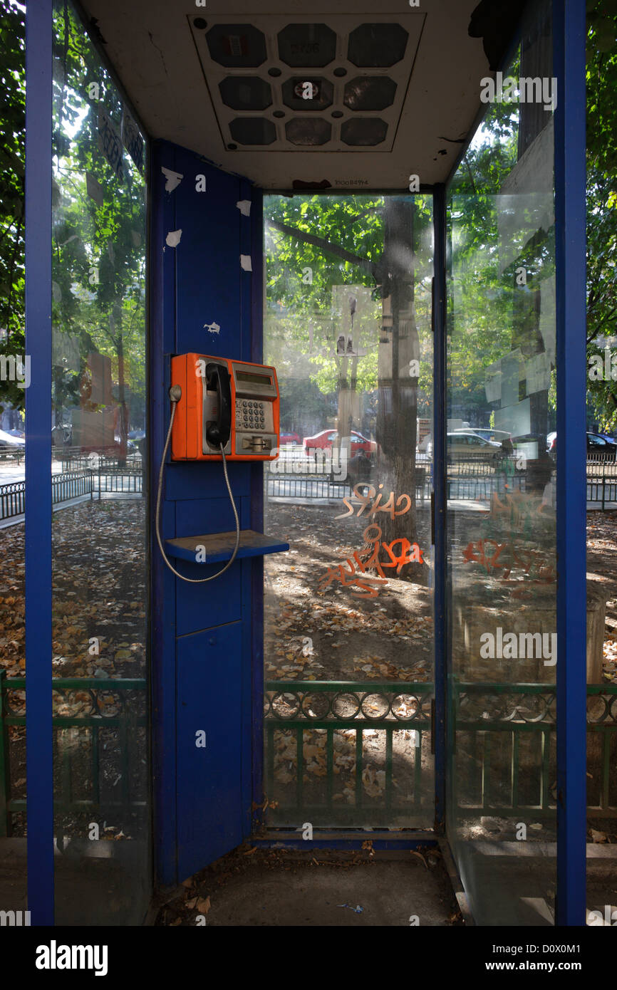 Bucharest, Romania, public phone booth on the Boulevard of the Association - Stock Image