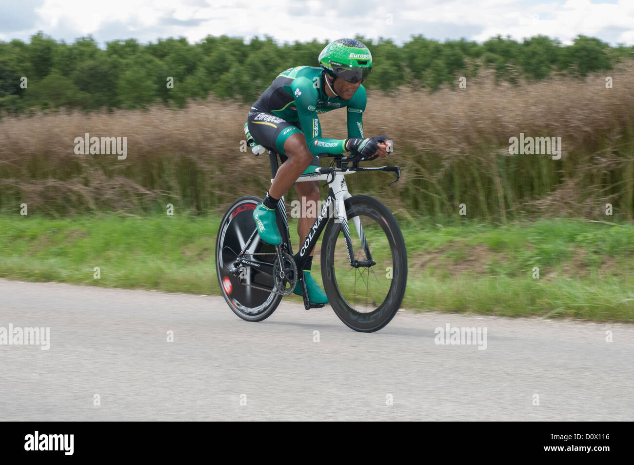 Yohann Gene of Team Europcar on the 19th Time Trial stage of the 2012 Tour de France near Illiers-Combray in the - Stock Image
